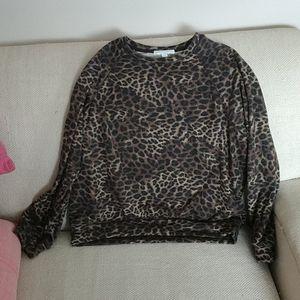 Spiritual gangster crew leopard sweatshirt Large